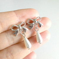 Silver Bow Pearl Drop Earrings