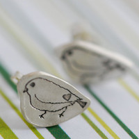 SPARROW studs, organic shape love sparrow earrings, eco-friendly.  Handcrafted by Chocolate and Steel.