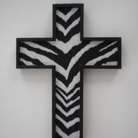 ZEBRA PRINT Wall Cross - handpainted wood cross &amp; zebra print eco felt
