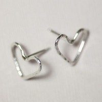 Open your heart sterling silver earrings by moncadeau on Etsy