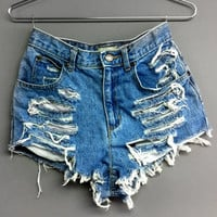 High Waisted Jean Shorts - Shredded
