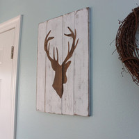 White Distressed Deer Head Silhouette Wood Sign  by mellisajane