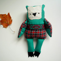 Emerald  - Little  owl, soft art  toy  by Wassupbrothers