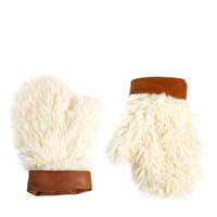 ASOS Faux Shearling Mittens With Leather Cuff