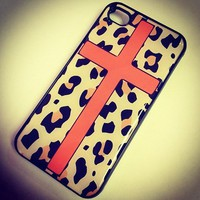 Amazon.com: BLACK Snap On Hard Case IPHONE 4 4S Plastic Skin Cover - ORANGE CROSS LEOPARD cheetah print animal: Cell Phones & Accessories