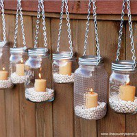 The Country Barrel  Set of 6 Regular Mouth Mason Jar Luminaries - Silver Chain