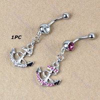 1PC Crystal Boat Anchor Stainless Steel Belly Navel Ring Piercing Jewelry