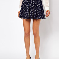ASOS Skater Skirt in Swallow Print