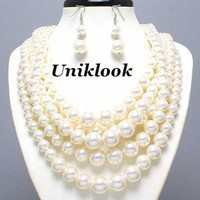 Chunky Layered Cream Faux Pearl Beads Statement Necklace Earrings Set Jewelry