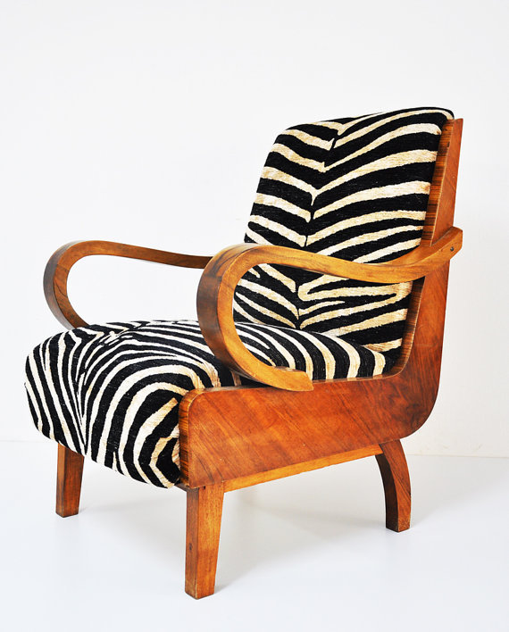 2 zebra walnut armchairs by namedesignstudio on Etsy