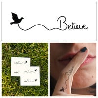 Believe  temporary tattoo Set of 6 by Tattify on Etsy