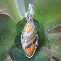 Large Bumble Bee Jasper Stone Sterling Silver Wire Wrapped Pendant Necklace