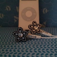 Metalic Star earbuds with swarovski crystals