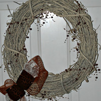 Cream Grapevine Wreath with Leopard Ribbon and Lace