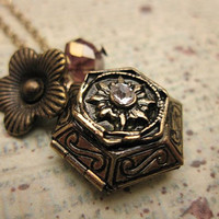 Vintage Style Hexagon Locket Necklace with by trinketsforkeeps