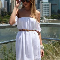 White Off the Shoulder Flowy Dress with Sheer Short Sleeves