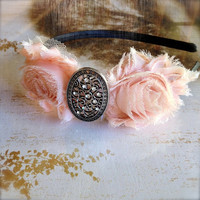 Filigree rhinestone silver shabby chiffon blossom headband in your choice of color. Ready to ship.