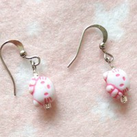 Hello Kitty Pink Girls Earrings Jewelry for Children Kids
