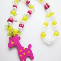 Girls Gifts Pink Giraffe Necklace Wooden Colorful Bright Nature