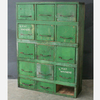 Ramona Morningbird: Rustic Green Drawer Cabinet, at 30% off!