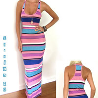 CANDY PINK STRIPE LONG KNIT FITTED STRETCH CASUAL FLOOR LENGTH MAXI DRESS M