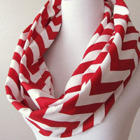 Red and white Chevron Scarf