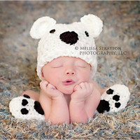 Newborn or 03 months  baby bear hat booties set by imway2short