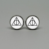 "Silver Stud Post Earrings with Harry Potter ""Deathly Hallows"""