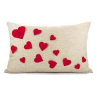 Growing hearts pillow case  Red felt heart by ClassicByNature