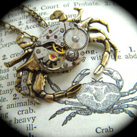 Steampunk Necklace Vintage Watch Movement Crab by CosmicFirefly