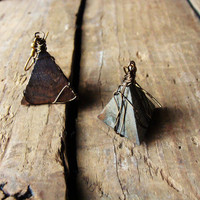 Earrings Natural Wooden Pyramid Triangles FREE US by RustyKeys
