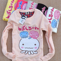 New Ladies Cute Korean Japanese Kawaii Octopus Squid Hoodie Shirt Top Sweater