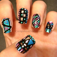 Modern Style Tribal Fake Nails by CompulsiveNails on Etsy