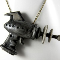 Alien Repellent Retro Ray Gun Necklace Jewelry by NeverlandJewelry