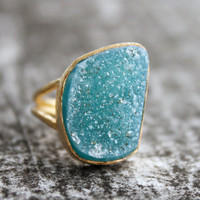 Blue Agate Druzy Ring Aqua Blue Adjustable One of a by OhKuol