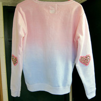 SILVER Studded Heart Elbow Patch Ombre Dip-Dyed Pastel Blue and Pink Light Fleece Sweatshirt Valentine's Day