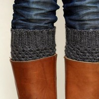 Crochet Boot Cuffs In Dark Slate Gr.. on Luulla