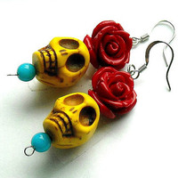 Yellow Turquoise Blue and Red Day of the Dead by InkandRoses13