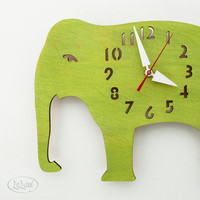 "The ""Big Lime Green Elephant"" designer wall mounted clock from LeLuni"