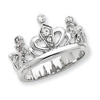Genuine IceCarats Designer Jewelry Gift Sterling Silver Cz Crown Ring Size 6.00