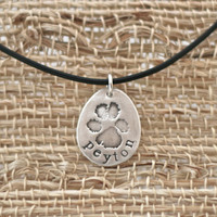 Dog Paw Print Necklace in Pure Silver