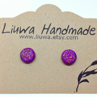 Purple Glitter Flat Post Earrings, Polymer Clay Studs, Stainless Surgical Steel Posts