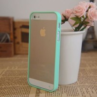 Mint Green Soft Trim Clear Back Hard cover Bumper Case Skin For iPhone 5 5G New