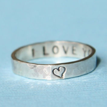 Personalized Ring Thin Secret Message Ring by punkybunny300