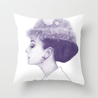 Audrey Hepburn in Purple  Throw Pillow by Clover Chen   Society6