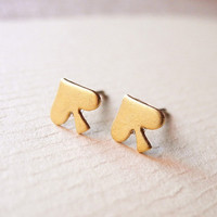 Spade Earring Studs - Brass Spade Earring Posts - Tiny Earring Studs - Romantic Jewelry