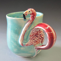 Flamingo Mug/Red and Turquoise/wheelthrown porcelain/one by madmud