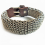 Adjustable leather bracelet men bracelet made of metal chains and brown leather bracelet cuff