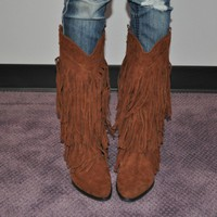Brown Fringed Tassle Boots