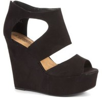New Look Mobile | Black Wide Strap Cage Wedges